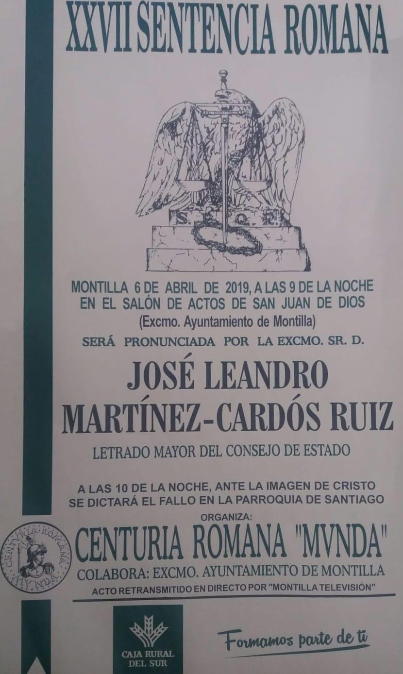 José Leandro Martínez-Cardós Ruiz, Letrado Mayor del Consejo de Estado, pronunciará el próximo sábado la XXVII Sentencia Romana